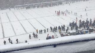 Bills Fans Brave Heavy Snow in Buffalo - Video