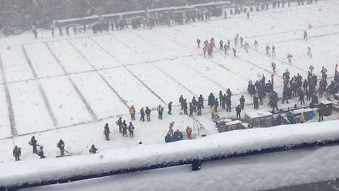 Bills Fans Brave Heavy Snow in Buffalo