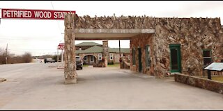 Historic petrified wood gas station