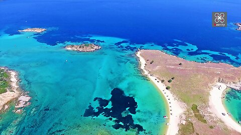 Drone footage of Ammouliani is a tropical paradise in Greece