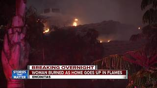 Woman escapes from burning Encinitas home - Video