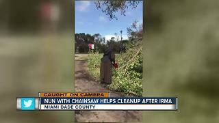 Florida nun dons habit, grabs chain saw to help after Irma - Video