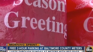 Free two-hour parking at Baltimore County meters for holiday shoppers