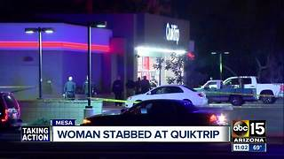 Woman stabbed at Quick Trip - Video