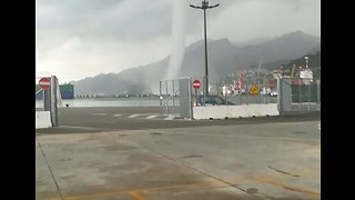 Waterspout Damages Containers in Southern Italian Port