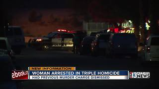 Woman arrested in triple homicide had prior murder charge dismissed - Video