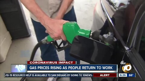 Gas prices on rise as more people return to work