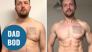 Incredible body transformation of new dad who piled on pounds when son was born