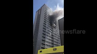 Fire breaks out at East London tower block