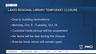 Lakes Regional Library temporarily closes
