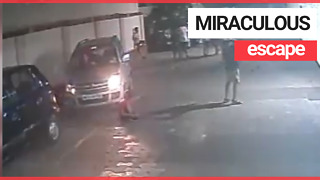 Kid unharmed after being run over by a car