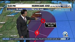 Jose strengthens back into Category 1 Hurricane - Video