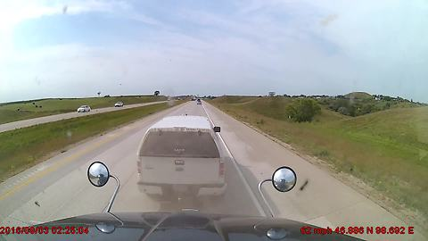 Pick Up Truck Driver Has Road Rage, Tries To Brake Check A Semi Truck