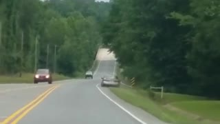 Drunk Driver Goes Airborne After Hitting Guardrail - Video