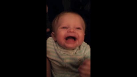 Baby Girl  Can't Stop Laughing As She Listens To Her Dads New Voice