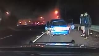 Police dash cam captures insane high-speed collision - Video
