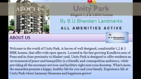 Upcoming Construction Projects in pune as Unity Park Kondhwa Where dreams come Home