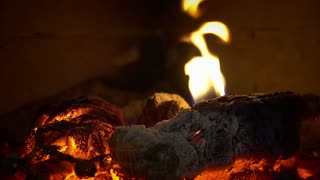 Relaxing Fireplace Sounds With Burning Wood Embers
