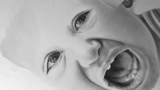 Pencil Portrait of Little Girl - Time Lapse - Video