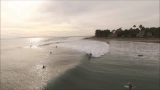 Drone footage of surfers In Rincon, CA - Video