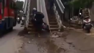 Stupid Biker Cross Pedestrian Bridge - Video
