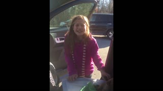 Little girl cries over a fantastic Christmas surprise