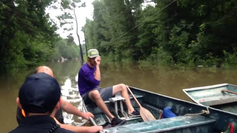 Horse Rescued From Floods Enjoys A Meal On Boat Ride To Safety