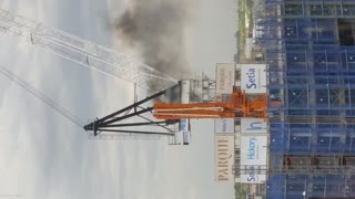 Check Out This Crane Fire! - Video