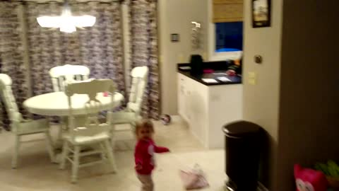 Toddler Chases Balloon