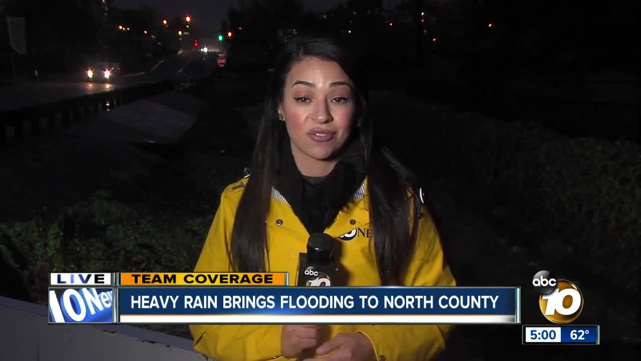 Heavy rain brings flooding to North County