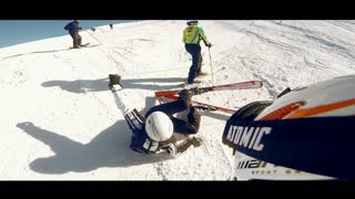 Skier fails to stop, crashes into another skier - Video