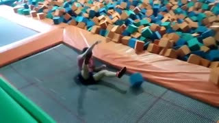 Collab copyright protection - red shirt guy trampoline front flip - Video