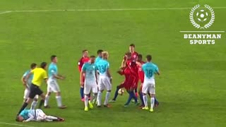Slovenia player grabbed Rashford by the neck and Lingard was sticking up for his mate. - Video