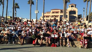 Local Seniors Gather Every Thursday Evening To Play Ukuleles At Huntington Beach Pier - Video