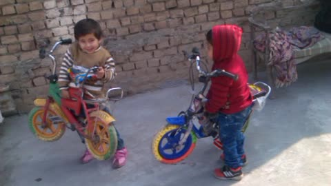 Two cute babies are playing on their terrace with their bicycles