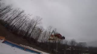 Red flannel snowboard ramp fail - Video