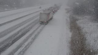 Highway 401 Pile-Up Filmed from Overpass - Video
