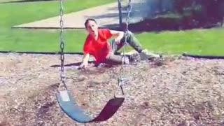 Collab copyright protection - red shirt swing mulch faceplant - Video