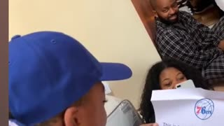 Kid in tears after receiving 76ers tickets for Christmas