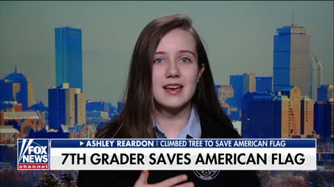 Patriotic 7th grader climbs tree to save American flag