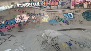 Guy graffiti skatepark skateboard bowl fail  - Video