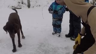 Kid Disappointed After Dad's Ice Fishing Fail - Video