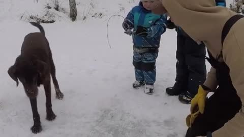 Kid Disappointed After Dad's Ice Fishing Fail