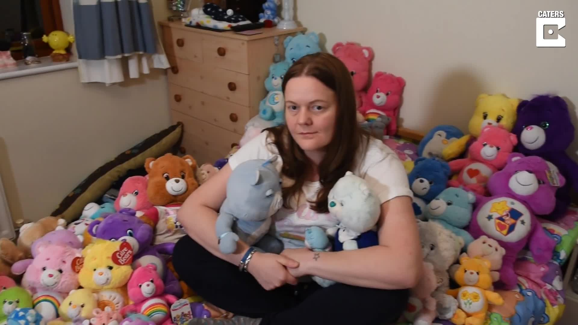 WOMAN OBSESSED WITH CARE BEARS SINCE THIRD BIRTHDAY TAKES TOYS WITH HER EVERYWHERE