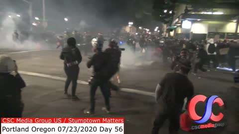 Federal Officers And Protesters Play Catch With Tear Gas And Flashbangs And Leaf Blowers