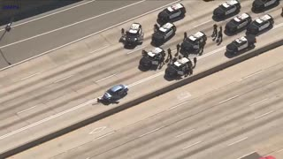 LAPD Police Chase, Crash And Standoff... Suspect Has A Shotgun... K9