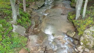 Peaceful waterfall at the complex