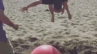 Collab copyright protection - sand yoga ball explode two guys - Video
