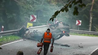 Amazing rally crash in which rally driver Wojciech Szulc miraculously survives! - Video