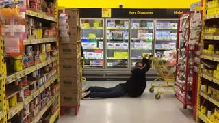 Collab copyright protection - yellow aisle grocery cart slide - Video